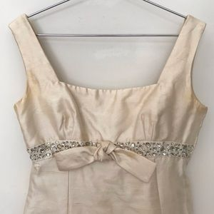 Vtg 1960s Babydoll Dress Raw Silk with Rhinestones